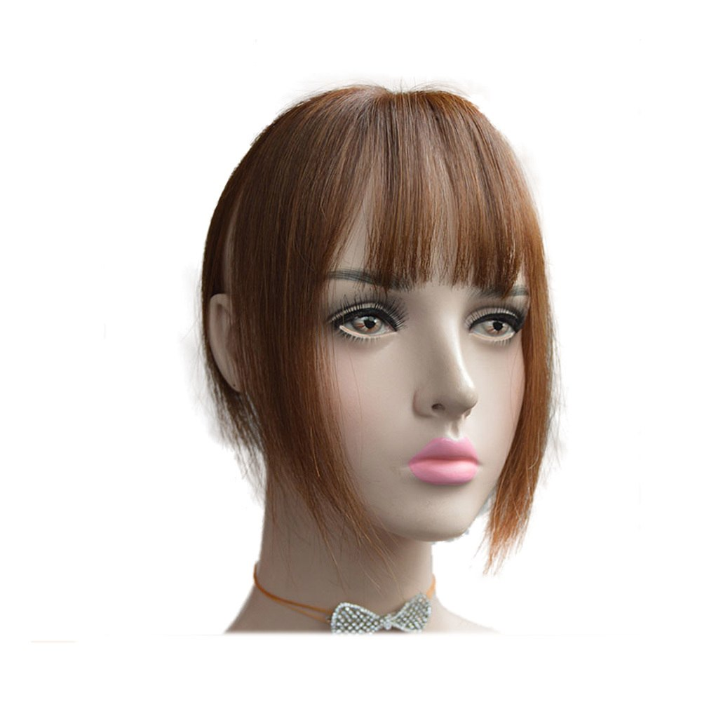 Hair Toupee Neat Bangs Straight  Mono 5*8cm Net Breathable  Light And Thin Straight Hair Topper For Loss Hair Cover White Hair 0