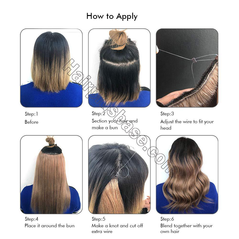 Halo Hair Extensions For Thin Hair #4/27 Body Wave/Straight 7