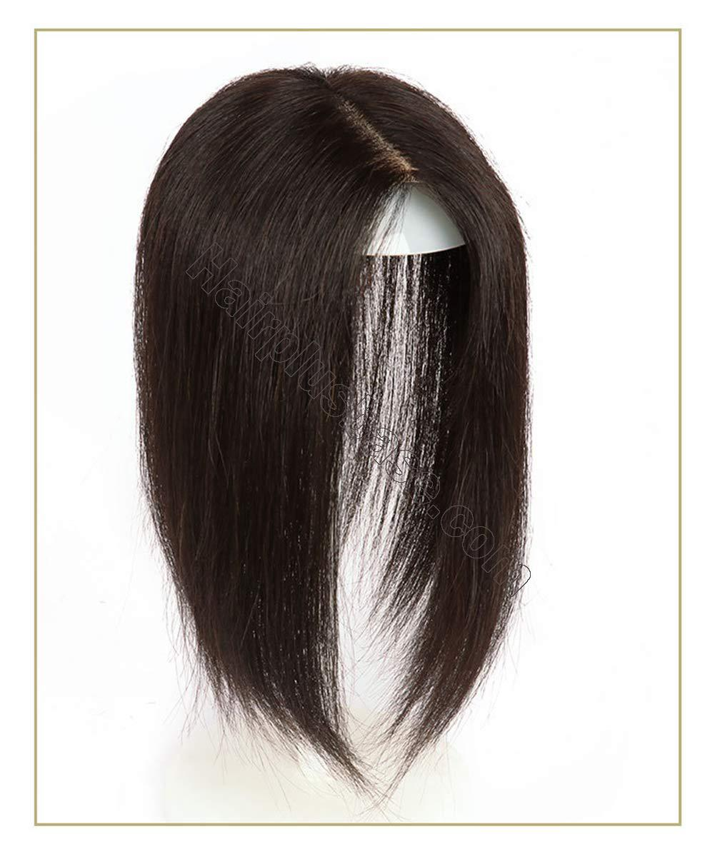Hand Tied Human Hair Crown Toppers 5.5 Inch x 5.5 Inch Silk Base Top Hair Pieces for Women with Alopecia 2