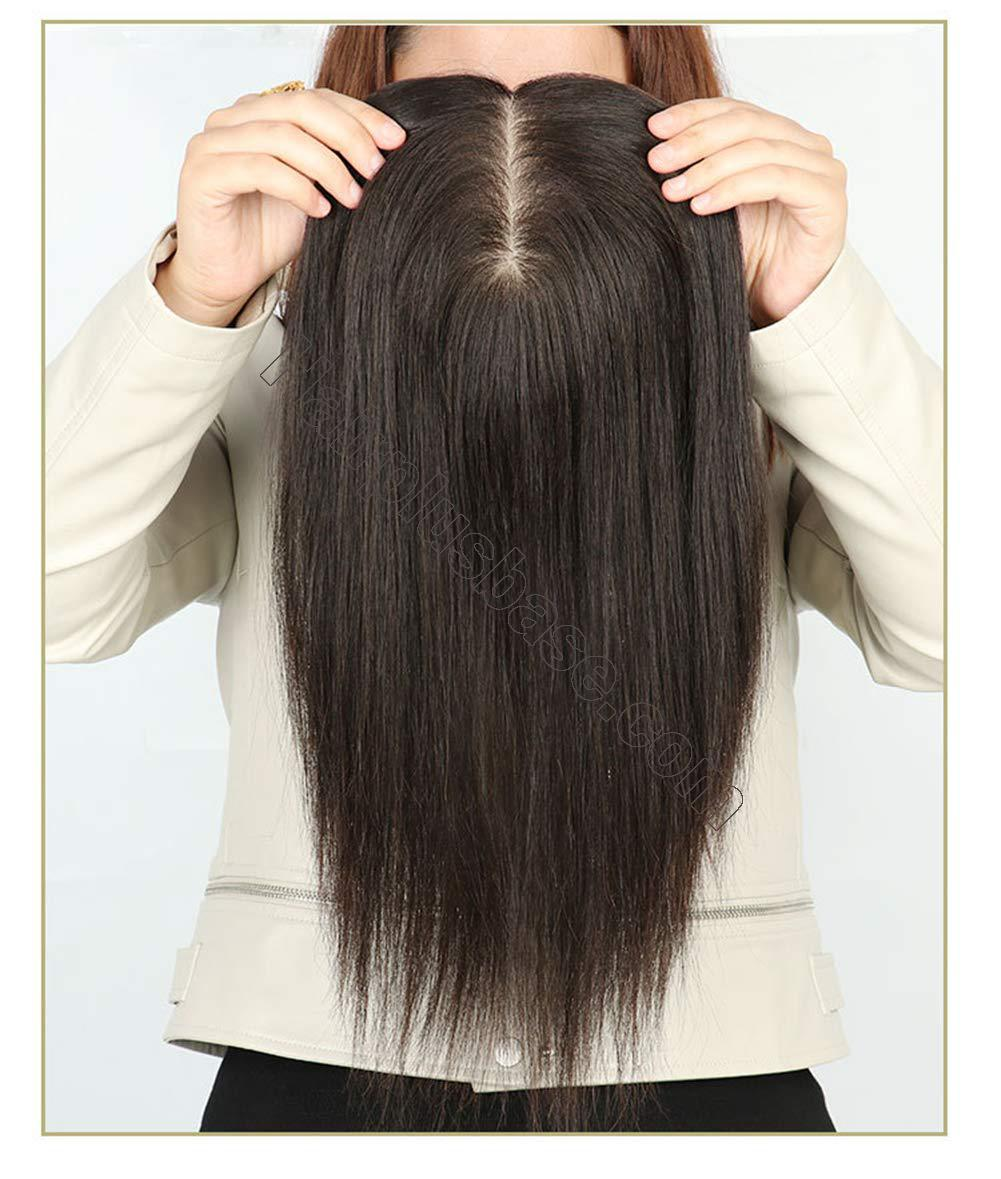 Hand Tied Human Hair Crown Toppers 5.5 Inch x 5.5 Inch Silk Base Top Hair Pieces for Women with Alopecia 3