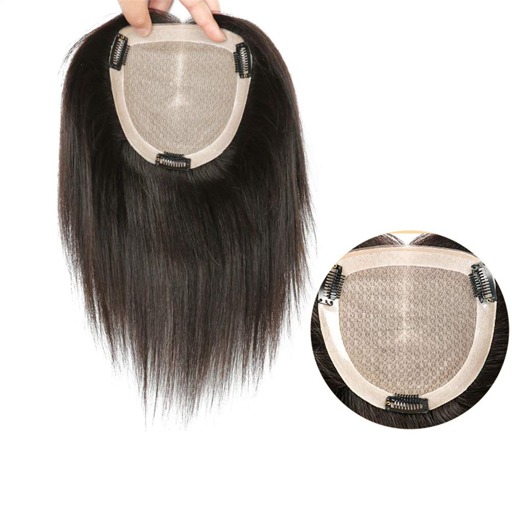 Hand Tied Human Hair Crown Toppers 5.5 Inch x 5.5 Inch Silk Base Top Hair Pieces for Women with Alopecia 6