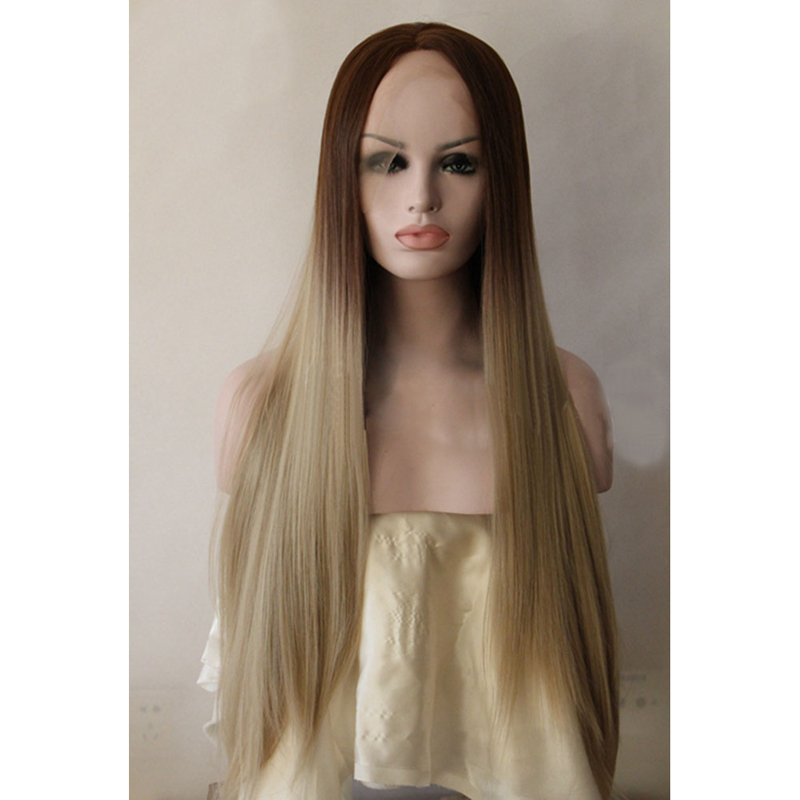 Handmade Brown Blonde Ombre Synthetic Lace Front Wig
