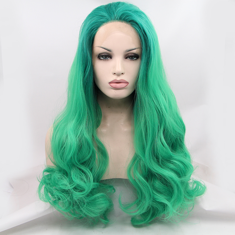 Handmade Dark Roots Green Ombre Wave Lace Front Wig