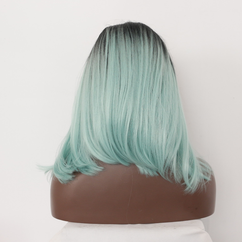 Handmade Fashion Ombre Green Synthetic Lace Front Wig
