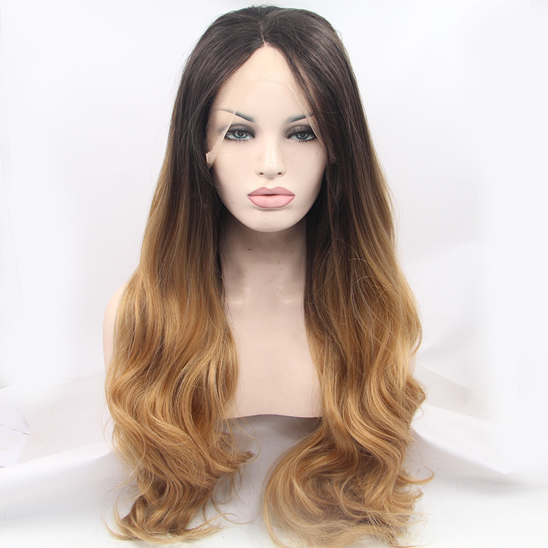 Handmade Fashion Wavy Golden Brown Ombre Lace Front Wig