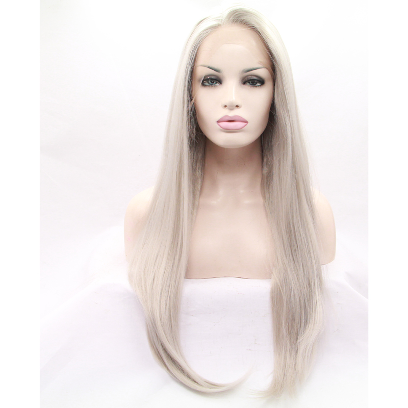 Handmade Grey Silky Straight Synthetic Lace Front Wig