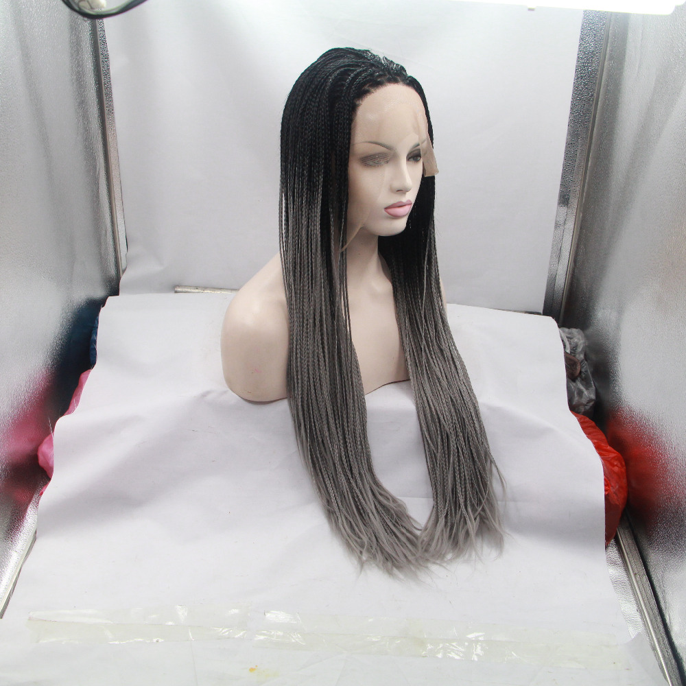 Handmade Long Grey Ombre Braided Lace Front Wig For Black Women