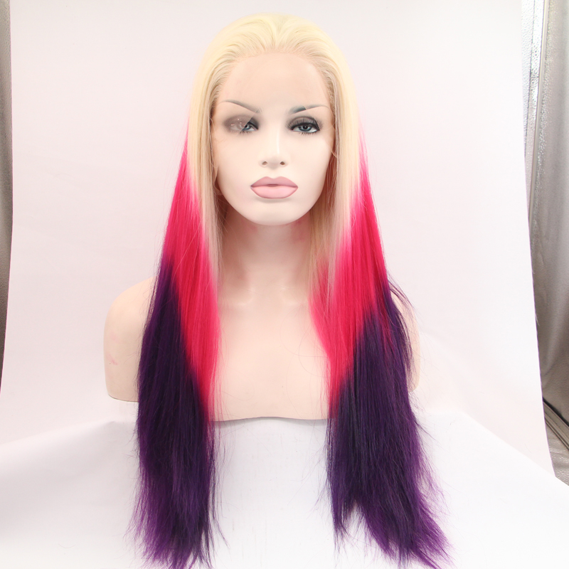 Handmade Long Ombre Rose Mix Purple Straight Lace Front Wig
