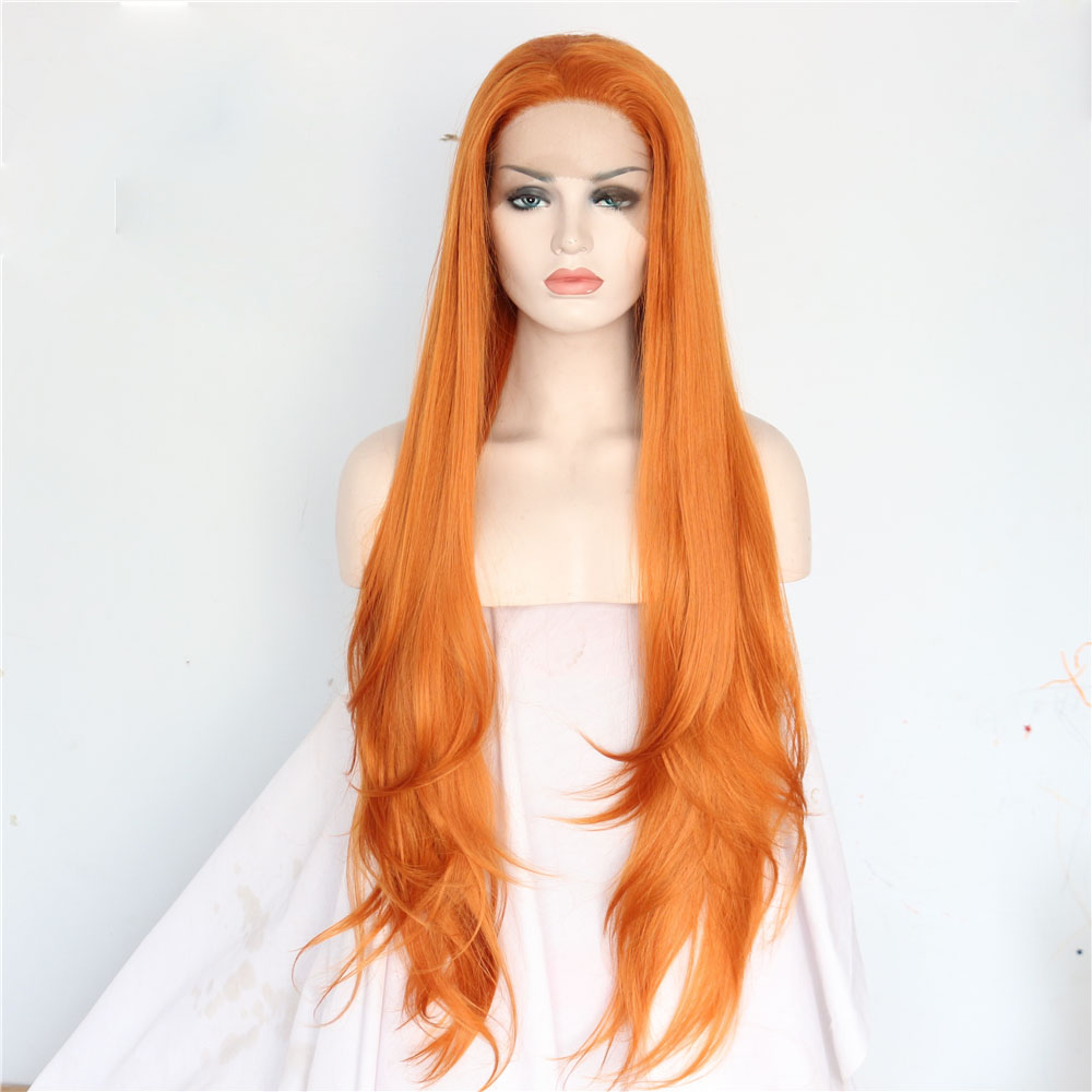 Handmade Long Straight Orange Lace Front Wig for Women