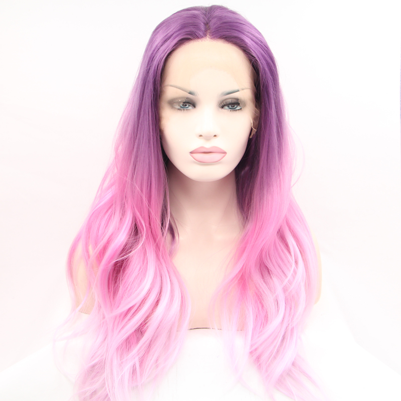 Handmade Pink Ombre Dark Roots Wave Synthetic Lace Front Wig