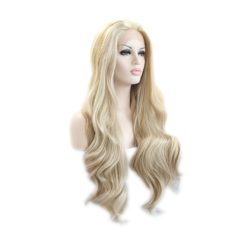 Handmade Vintage Blonde Wig Long Wave Lace Front Wig