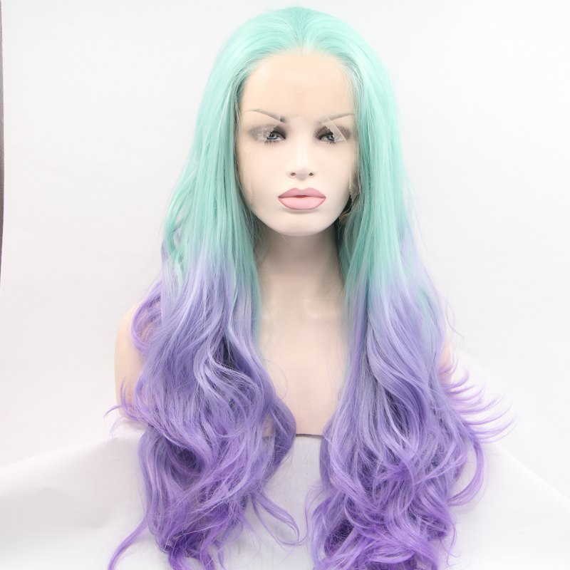 Handmade Wave Green To Purple Ombre Lace Front Wig