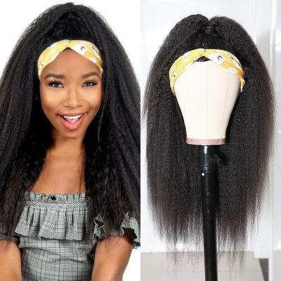 High-Quality Kinky Straight Human Hair Headband Wigs For Women - Random Gift Headband