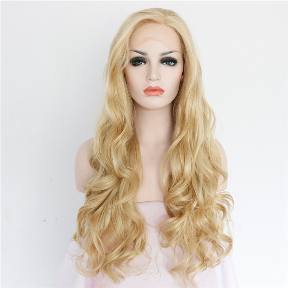 Hot Sale Glueless Long Wave Synthetic Lace Front Wigs