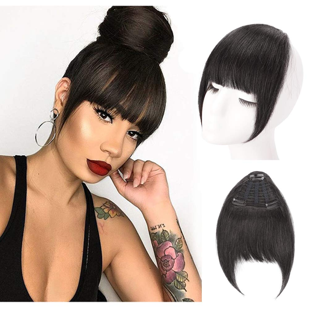 Human Hair Clip In Bangs Hair Extension Flat Frienge Hairpiece 0