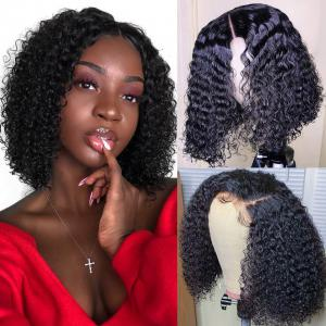 Human Hair Curly 8-16 Inches Short Bob Wigs 150% 180% Density