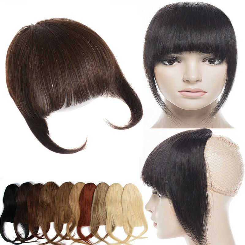 Human Hair Toupee Clip In/On Neat Bangs Fringes With Temples Hair Extensions Straight 0