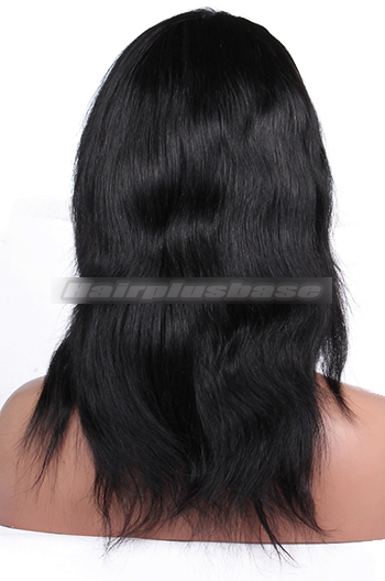 12 Inch #1 Natural Straight Indian Remy Hair Clearance Full Lace Wigs