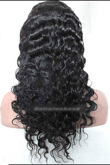 Deep Body Wave #1B Indian Remy Human Hair Glueless Machine Made Wigs