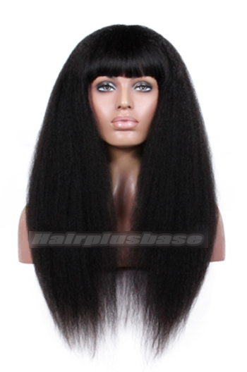 18 Inch Full Bangs Kinky Straight Indian Remy Hair Glueless Wigs With Natural Looking Silk Top Hair Whorl {10-15 business days processing time}