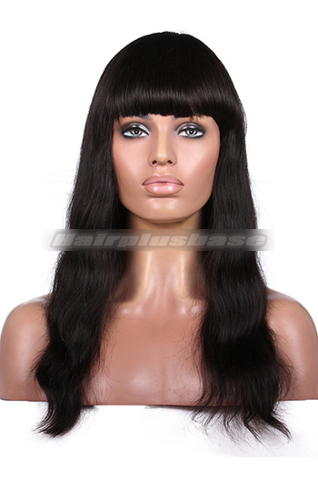 Indian Remy Hair Full Bangs Natural Straight Glueless Non-lace Wigs With Natural Looking Silk Top Hair Whorl