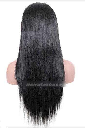 18 Inch Light Yaki #1B Indian Remy Human Hair Glueless Wigs