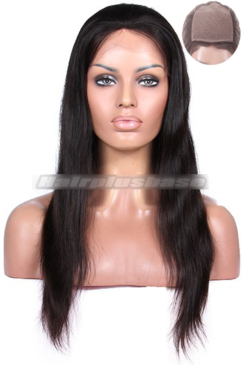 Silky Straight Indian Remy Hair Glueless Silk Top Full Lace Wigs