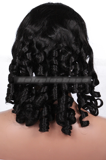 18 Inch #1 Spiral Curl Indian Remy Hair Clearance Glueless Lace Front Wigs