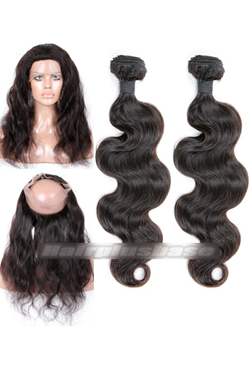 Body Wave 6A Virgin Hair 360°Circular Lace Frontal with 2 Weaves Bundles Deal