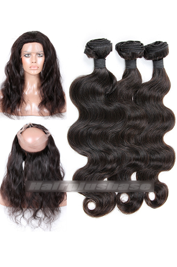 Body Wave Indian Virgin Hair 360°Circular Lace Frontal with 3 Weaves Bundles Deal