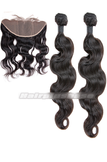 Body Wave Indian Virgin Hair Lace Frontal with 2 Weaves Bundles Deal
