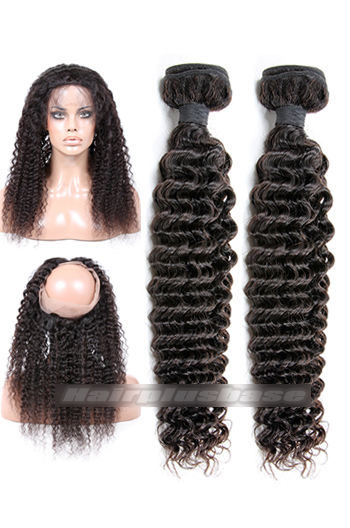 Deep Wave Indian Virgin Hair 360°Circular Lace Frontal with 2 Weaves Bundles Deal