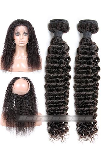 Deep Wave Indian Virgin Hair 360°Circular Lace Frontal with 2 Weaves Bundles Deal