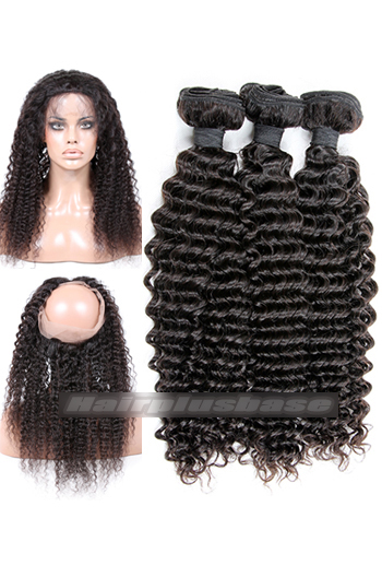 Deep Wave Indian Virgin Hair 360°Circular Lace Frontal with 3 Weaves Bundles Deal