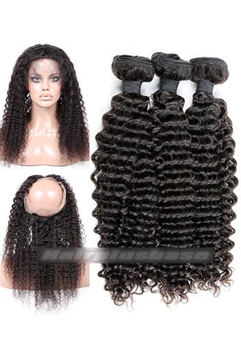 Deep Wave Indian Virgin Hair 360°Circular Lace Frontal with 3 Weaves Bundles Deal