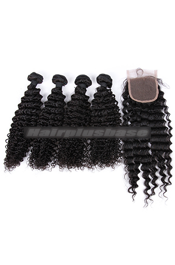 10-26 Inch Deep Wave Virgin Indian Human Hair Extension A Lace Closure With 4 Bundles Deal