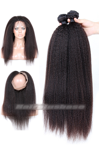 Kinky Straight Indian Virgin Hair 360°Circular Lace Frontal with 2 Weaves Bundles Deal