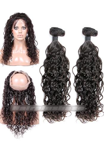 Loose Curl Indian Virgin Hair 360°Circular Lace Frontal with 2 Weaves Bundles Deal