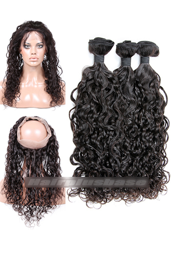 Loose Curl Indian Virgin Hair 360°Circular Lace Frontal with 3 Weaves Bundles Deal