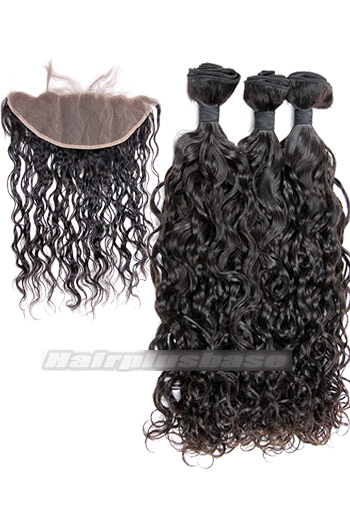 Loose Curl Indian Virgin Hair A Lace Frontal With 3 Bundles Deal