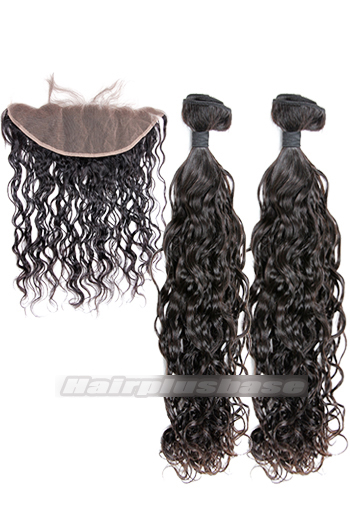 Loose Curl Indian Virgin Hair Lace Frontal with 2 Weaves Bundles Deal