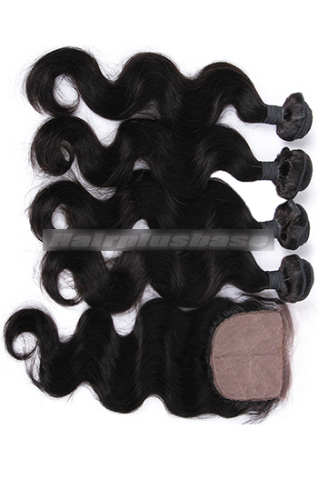 Body Wave Virgin Indian Human Hair A Silk Top Closure With 4 Bundles Deal