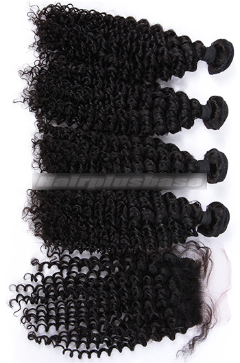 Deep Wave Virgin Indian Human Hair A Silk Top Closure With 4 Bundles Deal