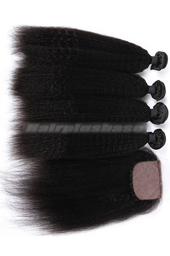 Kinky Straight Virgin 6A Human Hair Extension A Silk Top Closure With 4 Bundles Deal