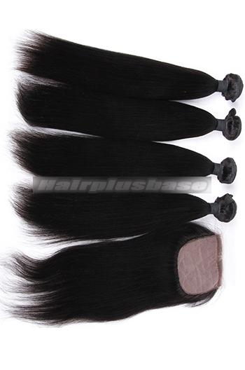 Light Yaki Straight Virgin 6A Human Hair Extension A Silk Top Closure With 4 Bundles Deal