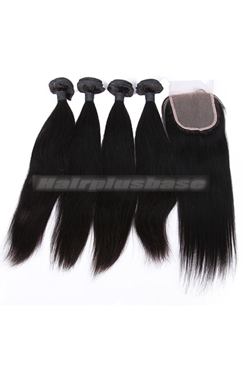 10-26 Inch Straight Virgin Indian Human Hair Extension A Lace Closure With 4 Bundles Deal
