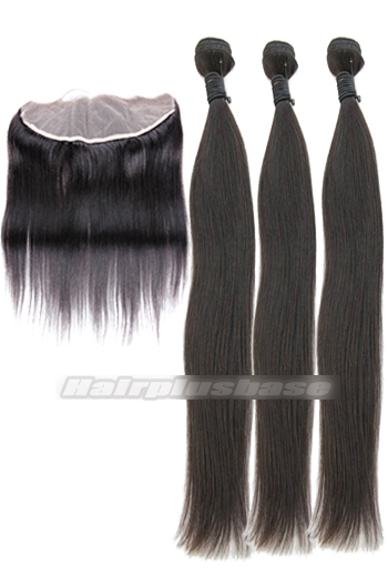 Silky Straight Indian Virgin Hair A Lace Frontal With 3 Bundles Deal