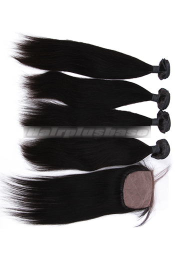 10-26 Inch Straight Virgin 6A Human Hair Extension A Silk Top Closure With 4 Bundles Deal