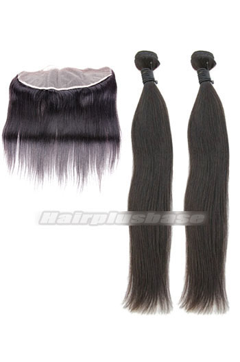 Silky Straight Indian Virgin Hair Lace Frontal with 2 Weaves Bundles Deal
