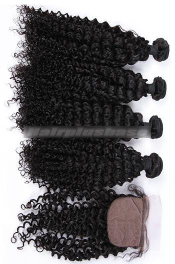 Water Wave Virgin Indian Human Hair A Silk Top Closure With 4 Bundles Deal